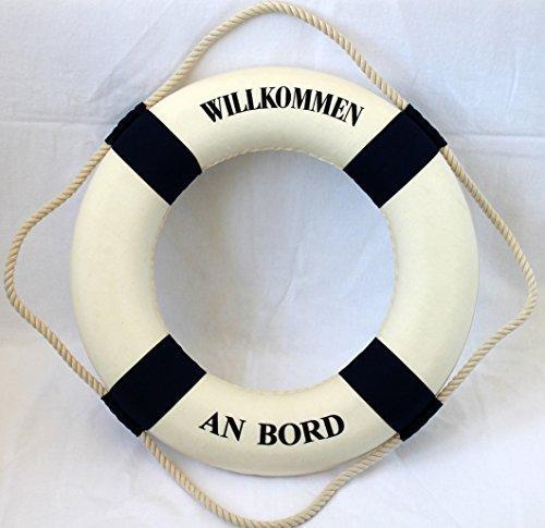 Deko Rettungsring 50cm blau-weiss Willkommen an Bord (Rettungsring Willkommen An Bord)
