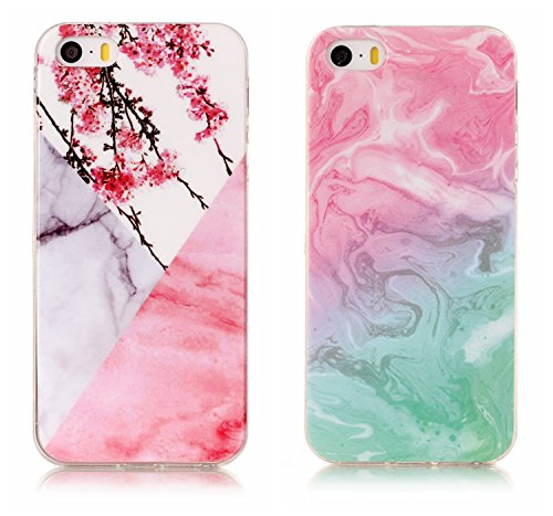 iPhone SE Coque, Valenth Marble Pattern TPU Coque Cover Drop Protection Armor pour iPhone SE 1#
