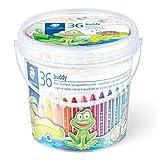 Staedtler Crayon de couleur 3 en 1 Bouddy, coloré, crayons de cire et aquarelle, ultra incassable, parfait pour les enfants, pour de nombreuses surfaces, pack de 36 feutres, 140 C36