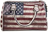 styleBREAKER USA Vintage Handtasche im Stars & Stripes Design, Bowling Tasche, Henkeltasche, Damen 02012014, Farbe:Grau/Modell-4
