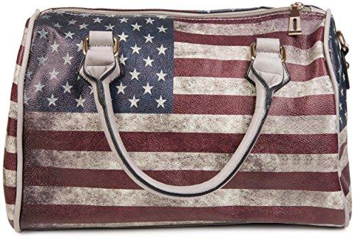 styleBREAKER USA Vintage Handtasche im Stars & Stripes Design, Bowling Tasche, Henkeltasche, Damen 02012014, Farbe:Grau / Modell-4 (Kleine Bowling Tasche Leder)