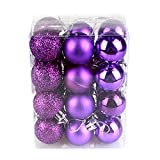 24pcs Christmas Tree Baubles Balls Glitter Xmas Hanging Onaments Pendant Party Decorations (Purple)