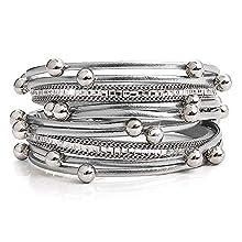 YooAi Multilayer Leather Bracelet Pearl Bohemian Magnet Buckle Women's Wrap Bracelets (White)