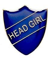 Head Girl Enamelled School Metal Shield Pin Badge In Blue