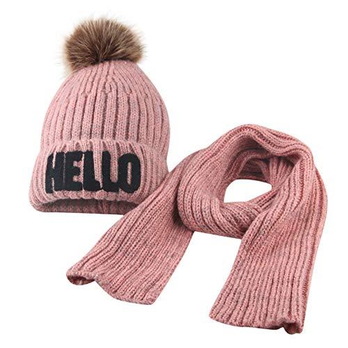 Fuibo Baby Mütze Schal Set, Kleinkind Mädchen & Boy Baby Winter häkeln Strickmütze Mütze Haarballen Mütze Schal Set | Baby Mütze Beanie Keep Warm Hut Strickmützen (Pink)