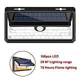 Luz de Solar Foco Llama LED IP65 Impermeable Inalámbricas con Sensor de Movimiento Rango de 4-5m y Angulo de 120º de 420lm Proporcionar hasta 12 Horas con 2 Batería 18650 con 3 Modos Pared Iluminación de Exterior y Seguridad