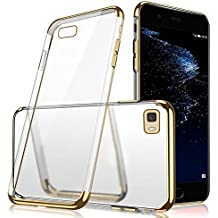 P8 Lite 2016 Case, Huawei P8 Lite Case Silicone, P8 Lite 2016 Mobile Phone Case, SevenPanda Ultra Thin Slim Soft Crystal Clear TPU Silicone Case Cover for Huawei P8 Lite 2016 Mobile Phone Case Glitter Luxury Plating Frame Protective Mobile Phone Case Transparent Backcover Soft Transparent Anti-Slip Shock-absorbing Mobile Phone Case Cover Flexible Bumper Case Bag Shell Cover Cases Accessories - Gold