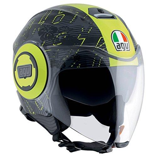AGV Casco Moto Fluid E2205Top, Ibiscus Gunmetal/Amarillo, S