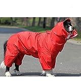 Fad-J Hunderegenmantel All-Inclusive-Bauch Großer Hund Jinmaosamo Pet Einteilige Vierbeinige Kleidung,Red,XXXL
