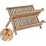 Leyendas Égouttoir à vaisselle pliable en bois de bambou 2 niveaux Pour assiettes et verres