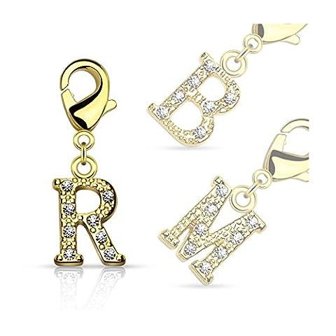 Bungsa® S - lettres Charm or 14 carats Pendentif pour boucles d'oreilles bracelet collier cristal Femmes Hommes (Pendentif Perles ABCDEFGHIJKLMNOPQRSTU VWXYZ laiton