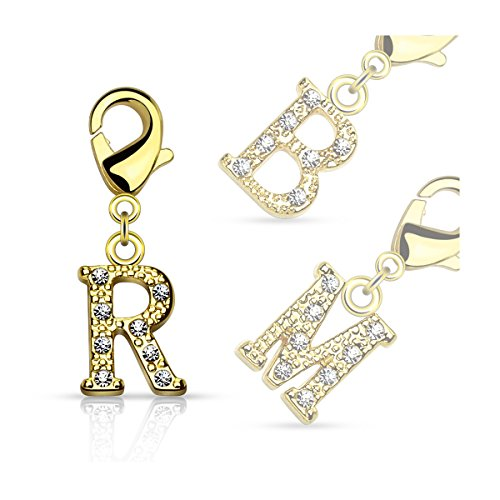Bungsa® K - Buchstaben Charm Gold 14 Karat Anhänger für Kette Armband Ohrringe Kristall Damen Herren (Kettenanhänger Pendant Beads A B C D E F G H I J K L M N O P Q R S T U V W X Y Z Brass Schmuck)