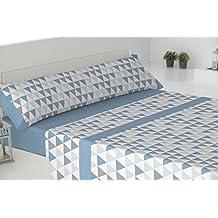Todomueble-Pierre Cardin Trieste - Juego de Sábanas para cama de 150, compuesto por bajera, encimera y funda de almohada, color Azul