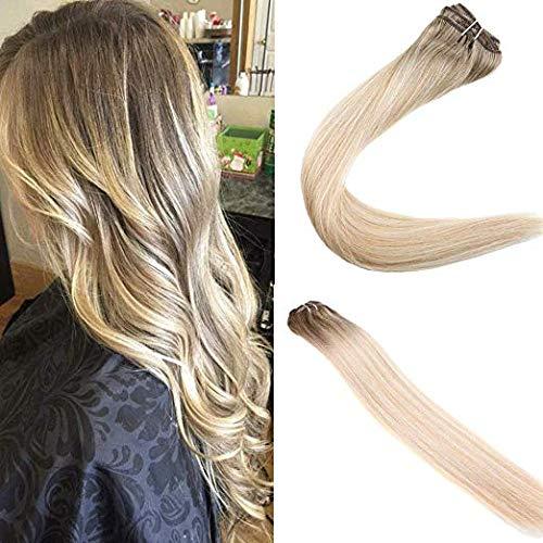 Easyouth Clip in Menschliches Haar 18 Zoll 80g 7Pcs Pro Paket Farbe 6 Median Brown Fading Zu 27 Honig Blond Highlight Mit 60 Blonde Balayage Hair Extensions Human Hair - Haar-clip, Zwei Pack