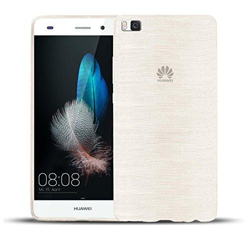 """Huawei P8 Hülle - Silikonhülle für P8 Huawei Schutzhülle Handy Case Rückseite Cover im gebürstetem Design """"Metallic Look"""" Tasche in Weiss"""