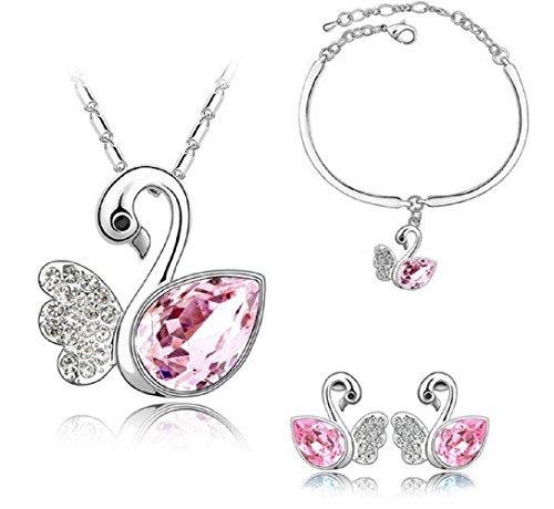 Set collana + orecchini + braccialetto con pietre brillanti rosa a goccia e ciondoli a forma di cigni