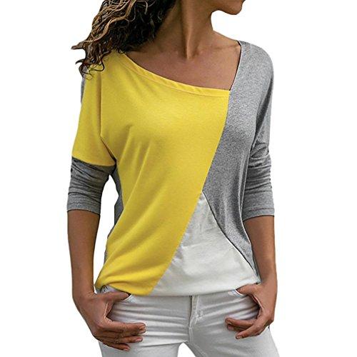 Blusa Moda Patchwork Casual para Mujer Color Block O-Neck Manga Larga Camiseta Tops ❤️ Manadlian