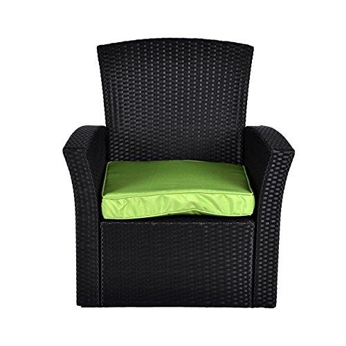 Rattan Set 4tlg mit Glastisch grün Garnitur Gartenmöbel Sitzgruppe Poly Rattan inklusive höhenverstellbare Füße und Sicherheitsglas 4-sitzer 4-teilig - 4