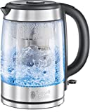 Russell Hobbs 20760-57 Glas-Wasserkocher Clarity, 2200 Watt, 1.5l, integrierter BRITA Wasserfilter, Edelstahl/Glas