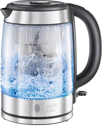 Russell Hobbs Clarity 20760-57 Glas Wasserkocher, 2200 W, 1,5 l, integrierter Brita Wasserfilter, silber (Wasserkocher Filter)