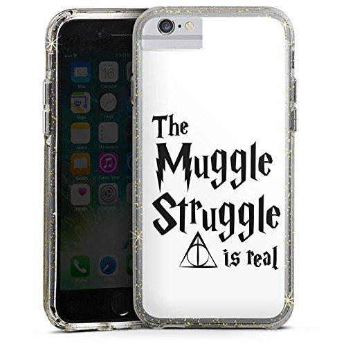 Apple iPhone X Bumper Hülle Bumper Case Glitzer Hülle Harry Potter Muggle Struggle Statement Bumper Case Glitzer gold