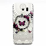MUTOUREN Samsung Galaxy S6 case cover Transparent TPU Silicone Protector Mobile Phone Cover Case Anti-Scratch Protector Crystal Clear Case Cover TPU Bumper Shell-white line image colorful butterflies Garland
