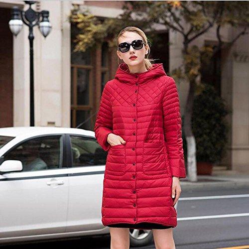 TT&FUSHI Herbst- und Winterfrauen im langen Absatz aus Baumwolle mit dünner Kapuze , red , 6xl