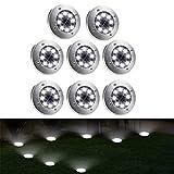 Underground Garden - Juego de 8 lámparas de suelo para jardín (8 ledes, resistente al agua)