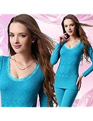 XMQC*El otoño y el invierno lace, formando la base de cuello redondo mujer ropa interior térmica para la perfecta cosmopolitian otoño Yi Chau pantalón Kit femenino baja) 902 sexy negro son código (85-140 catty ), azul , son de código (85-140 catty )