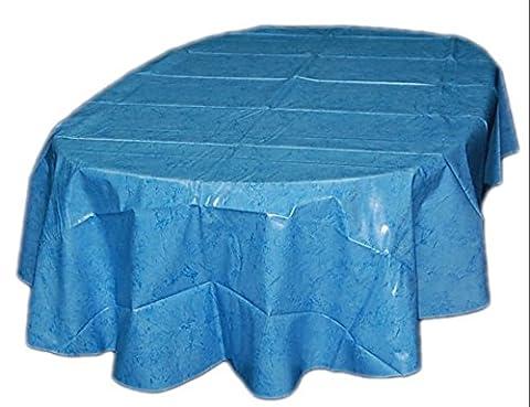 TISCHDECKE abwaschbar oval 140x240 cm oval Wachstuch Blau marmoriert GARTENtischdecke KÜCHE Esszimmer Made in Germany (Königsblau Tischdecke)