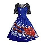 Manadlian [New Arrival Design] Mode Damen Weihnachten Party Kleid Damen Weinlese-Weihnachten Stilvolle Weihnachtsdruck Swing Rot Grün PinkBlau Lila Spitzenkleid (Blau, L)