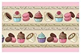 I-love-Wandtattoo Selbstklebende Bordüre Küche Borte Nachtisch Cupcakes Kuchen Kaffee