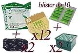 Sacchetti in Carta Naturale per Folletto Vorwerk vk130 - vk131 + Profumini al Pino + Filtro Carboni + Filtro Hepa (12 Sacchetti + 20 Profumini + 2 Carboni + 2 Hepa)
