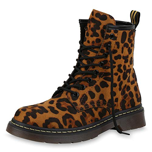 SCARPE VITA Damen Stiefeletten Worker Boots Profilsohle Stiefel Outdoor Schuhe 173512 Leopard 39 Outdoor Damen Stiefel