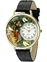 Whimsical Watches Monkey Black Skin Leather and Goldtone Unisex Quartz Watch with White Dial Analogue Display and Multicolour Leather Strap G-0150008