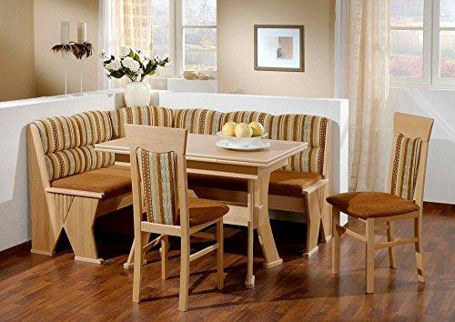 Beauty.Scouts Eckbankgruppe Meran, Truheneckbank ausziehb. Tisch+2 Stühle Landhaus Küche Komplettset braun Buche Polster Chenille Velours Esszimmer