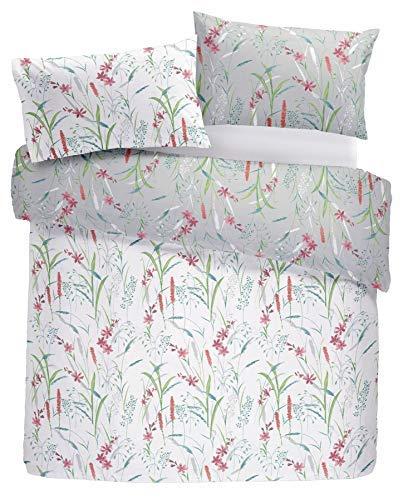 Blume Blumen Gras Rot Blau Baumwollmischung King Size 5 Teile Schlafzimmer Set (Bettwäsche-daunendecke-abdeckung)
