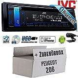 Peugeot 206 - JVC KD-R881BT - Bluetooth | CD | MP3 | USB | Android | iPhone Autoradio - Einbauset