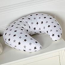Almohada de lactancia, diseño con estrellas de color gris.
