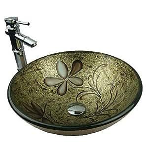 ANG doré rond en verre trempé évier robinet avec bambou de vidage pop-up et bague d'attache