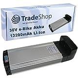 Trade-Shop 13200mAh 36V 475Wh Gepäckträger Akku für eBike Pedelec Elektrofahrrad E-GO! City Line F1 F2 M1 M2 mit Panasonic Zellen UR18650AA + 2A Ladegerät