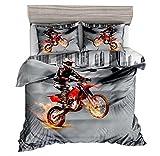 Bettwäsche Set Moderne Mode Cartoon Design-Stil Bettbezug 135x200cm Und Kissenbezug 80 x 80 cm Einzelbett Doppelbett Bettwäschegarnitur Motorrad, 135x200cm