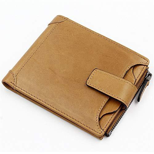 Herren und Damen Leder Geldbörse gelb 100mm * 120mmRobustes doppeltes Falten - Visitenkartenhalter - Münztasche - Box usw. für mehrere Zwecke -