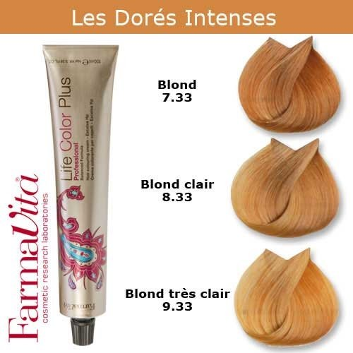 Coloration cheveux FarmaVita - Tons Dorés Intenses Blond doré intense 7.33