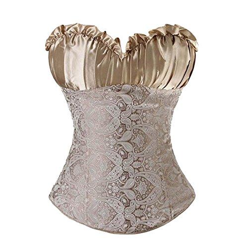 E&D Women Champagne Beige Bustier Burlesque Basque Moulin Rouge Boned Corset Top