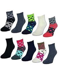 6 oder 12 Paar Damen Kuschelsocken Damensocken Kuschel Socken Punkte & Uni - 37597 - sockenkauf24