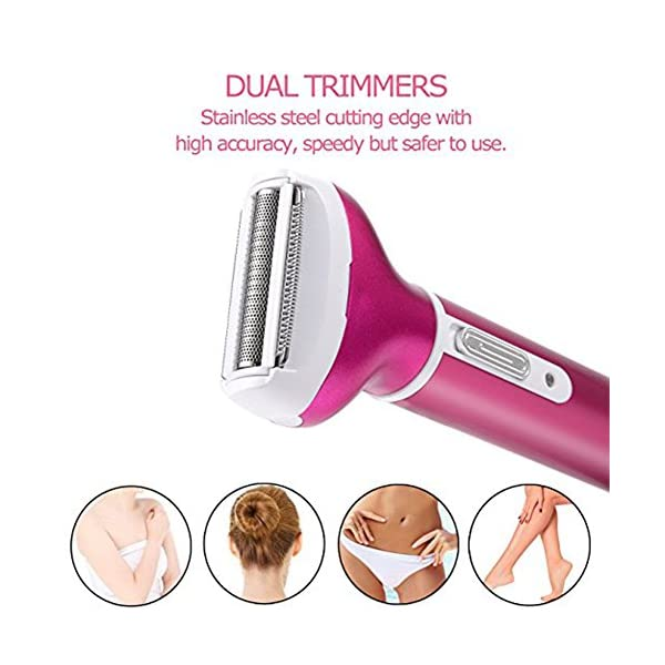Yiwa 4 In 1 Women Hair Trimmer Kit Electric Epilator Facial Leg Eyebrow Rechargeable Hair Remover Shaver