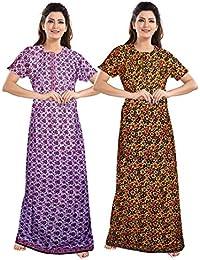 Jatin fashion CottonFancy Cotton Nighty Full Length | Night Wear| Sleep Wear For Women |Night Gown For Women (Multicolor, Free Size)