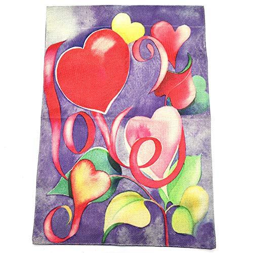 Monrocco doppelseitige Herzfarbe für Valentinstag, Gartenflagge, Heimdekoration, rustikal, Bauernhof, Jute, Gartendekoration