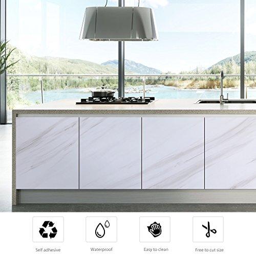 KINLO Tapeten Küchenrückwand folie Möbelfolie Aufkleber aus PVC Küchenschränke 0.61 x 5 m Selbstklebende Küchenfolie Dekofolie Schrank Folie Wasserfest für Küche und Bad...